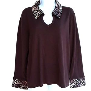 Kim Rogers Pullover Top Layered Look Anima…